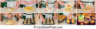 A Step by Step Collage of Making Halloween Pumpkin Muffins -...