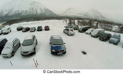 Car Driving out the Parking Area, Aerial View - KUUSAMO,...