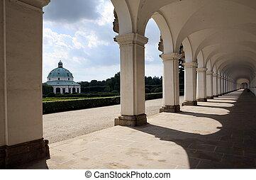 Colonnade in flower garden Kromeriz, Czech Republic