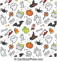 Halloween flat pattern color - Halloween color pattern...