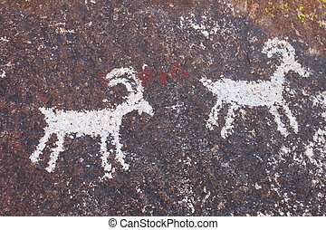 Grapvine Canyon Petroglyphs - Ancient Petroglyphs on a rock...