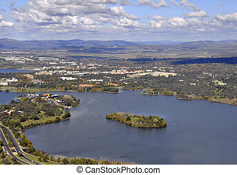 Canberra aaerial - aerial view across Burley Griffin lake,...