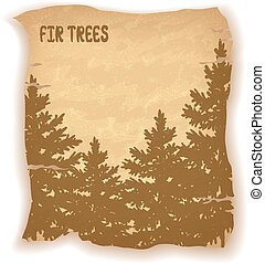 Landscape, Fir Trees Silhouettes on Vintage Background of an...