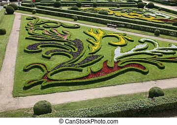 Flower garden of Castle in Kromeriz, Czech Republic