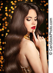 Long Healthy hair. Beauty portrait woman. red lips makeup....
