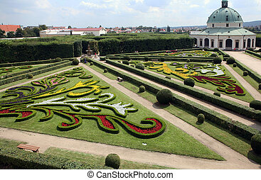 Flower garden of Castle in Kromeriz, Czech Republic