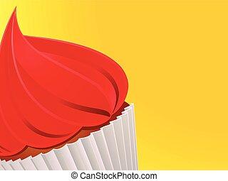 Cupcake close up over yellow