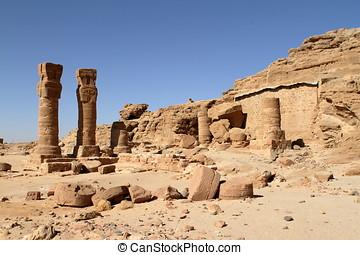 den, tempel, fördärvar, hos, Jebel, Barkal