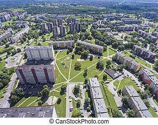 Typical socialist block of flats in Poland. East Europe....