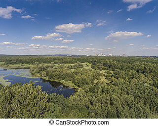Summer time lake and green forest, in Poland lanscape View...