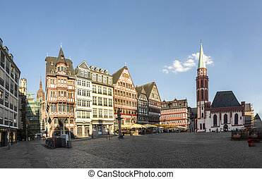 Old traditional buildings in Frankfurt at the Roemer square,...