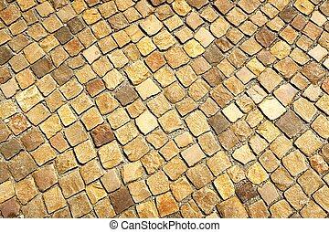pavement stones. texture. vintage retouch of image. -...