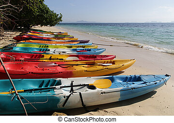 Kayaks on the beach and Andaman Sea of Trang - Thailand