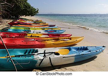 Kayaks on the beach and Andaman Sea of Trang - Thailand