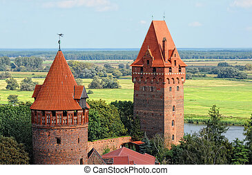 Cityscape of Tangermunde (Saxony-Anhalt, Germany) with brick...
