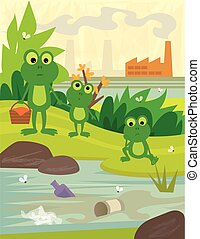 Pollution - Frogs on a picnic day, looking at a dirty river,...