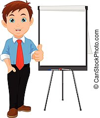 Businessman thumb up and blank sign