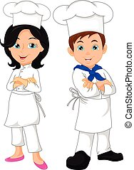 boy and girl chef cartoon - vector illustration of boy and...