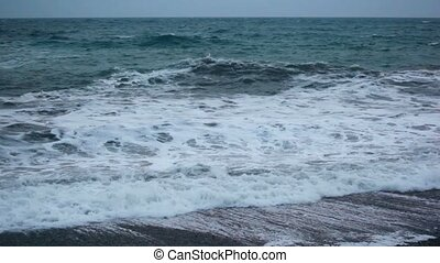 blue sea waves, dull weather