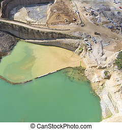 Mining quarry with special equipment, open pit excavation....