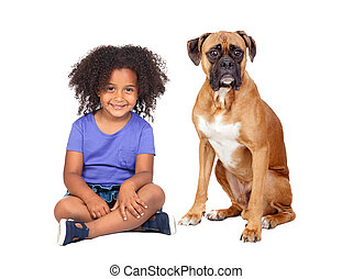 Little African girl and her dog