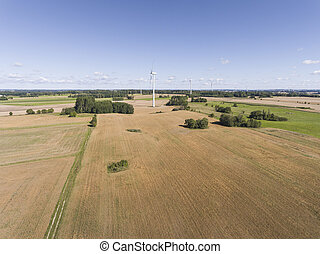 Wind turbines in Suwalki Poland View from above Summer time...