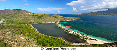 Majors Bay Beach - St Kitts - Panoramic view of Majors Bay...