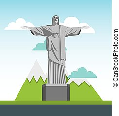 corcovado christ statue isolated icon vector illustration...