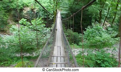 camera moving along suspension bridge in forest