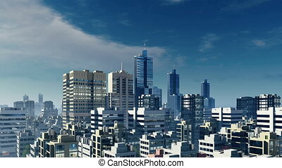 Big city high rise buildings - Panorama of abstract big city...