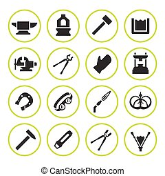 Set round icons of forge isolated on white. Vector...