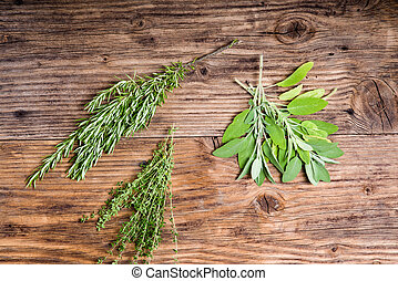 Rosemary, thyme and sage herbs