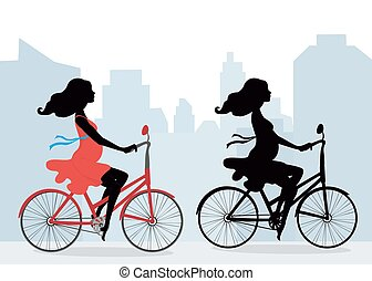 Silhouettes of pregnant women on the bike