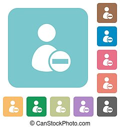Flat remove user account icons on rounded square color...