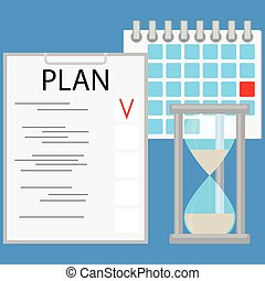 Planning time business concept flat. Strategy business plan...