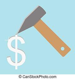 Make money concept. Silver dolar. Make money and earn money,...