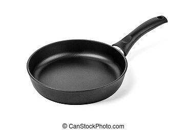 black frying pan isolated on white background with clipping...