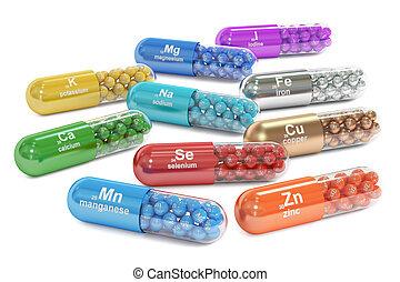 Capsules with Mn, Ca, K, Se, Zn, Cu, Fe, Mg, I, Na element...