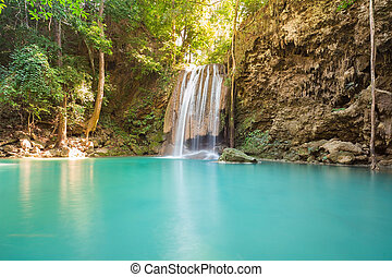 Natural blue stream waterfalls in tropical forest, natural...