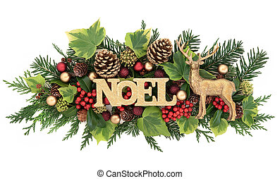 Noel Sign and Flora Decoration