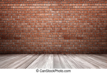 Red brick wall and wooden floor Copyspace Rough and ragged...