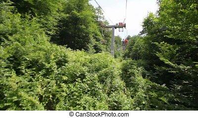 video from moving funicular above forest