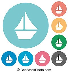 Flat sailboat icons