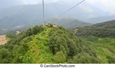 video from moving funicular above forest in mountains