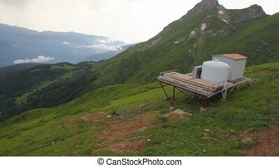 meteorological station in mountains, panning, sochi, russia