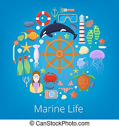 Marine Life with Sea Fish and Nautical Icons. Vector illustration