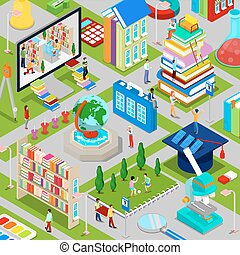 Isometric City of Education with Books Architecture and People. Vector illustration