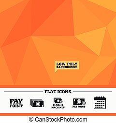 Cash and coin icons. Money machines or ATM. - Triangular low...