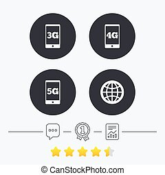 Mobile telecommunications icons 3G, 4G and 5G - Mobile...