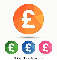 Pound sign icon GBP currency symbol Money label Triangular...